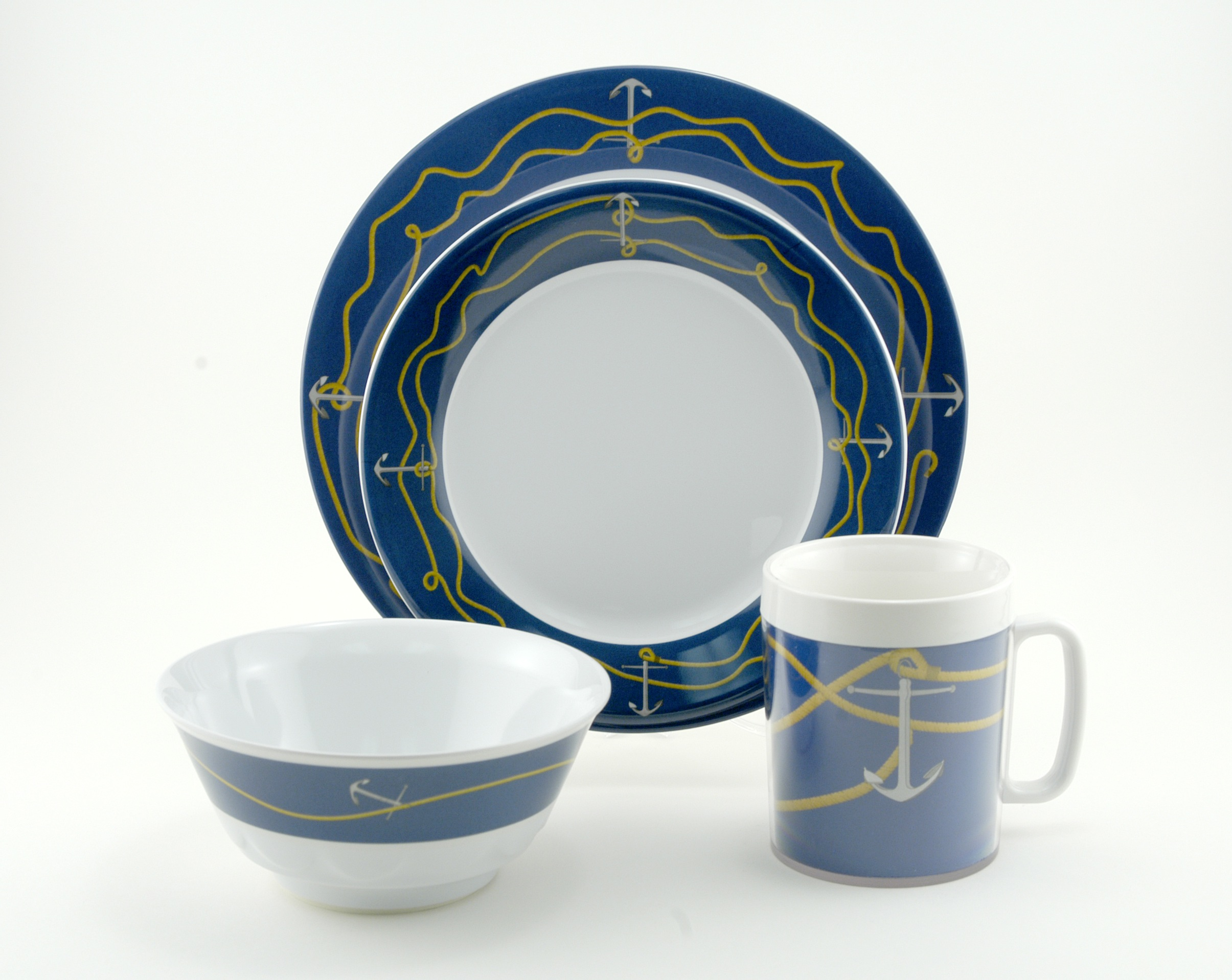 The Anchorline Collection & Coastal Melamine Dinnerware | Nautical non-skid Melamine
