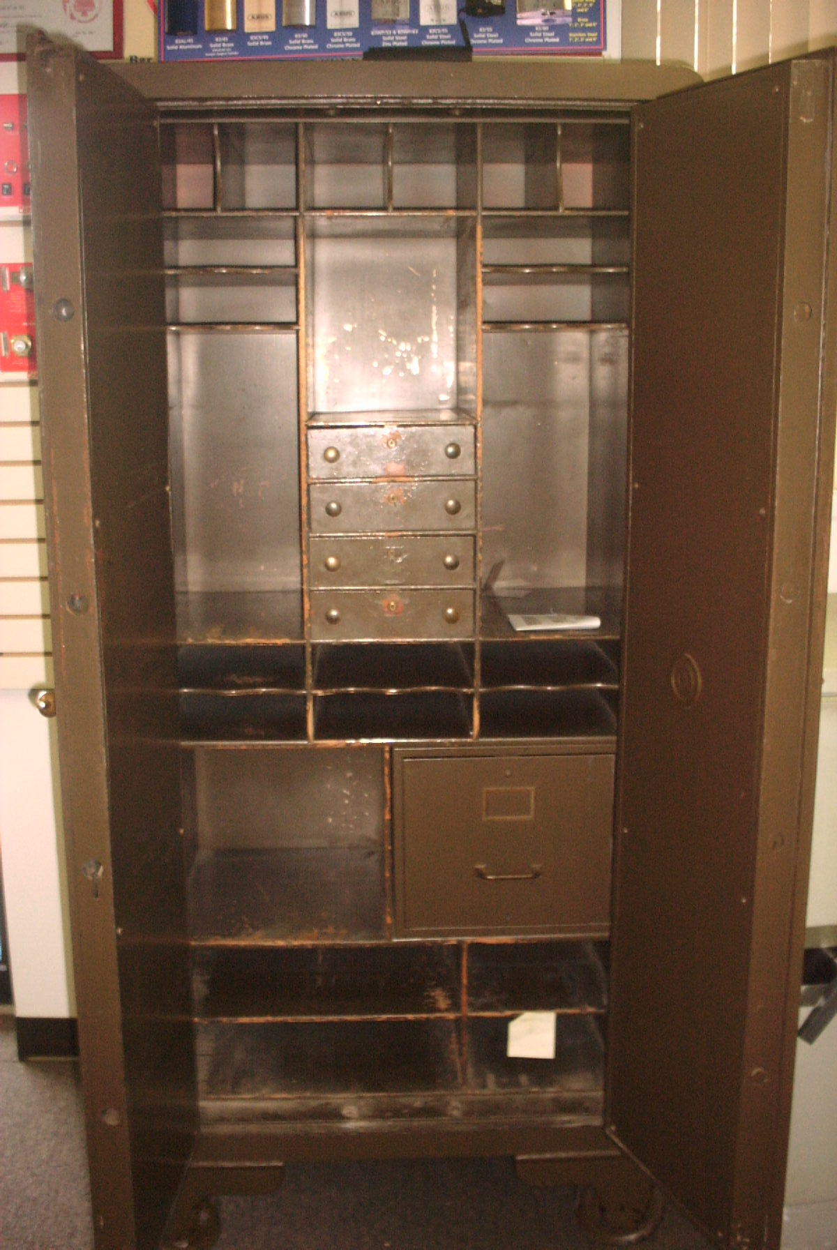 york safe. antique safe made by york \u0026 lock company with decorative hinges and several interior compartments for sale! the is in wonderful condition w
